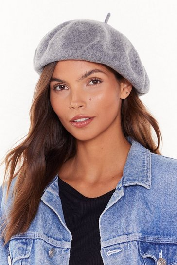 Womens Grey Beret Cold Outside Faux Wool Beret