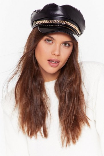 Womens Black Head Games Faux Leather Baker Boy Hat