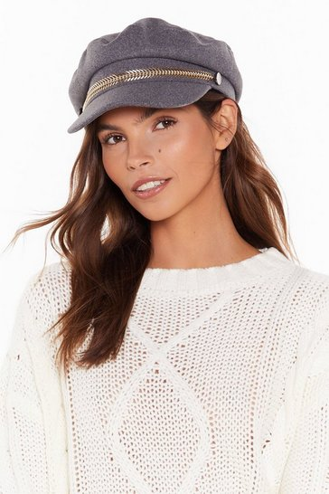Womens Grey Just a Heads Up Baker Boy Hat