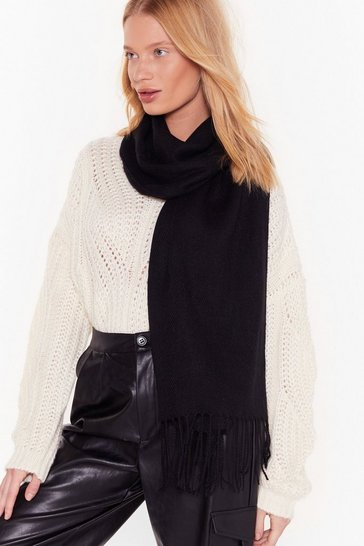 Womens Black Keepin' It Warm Fringed Scarf