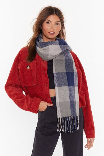 Womens Blue check scarf