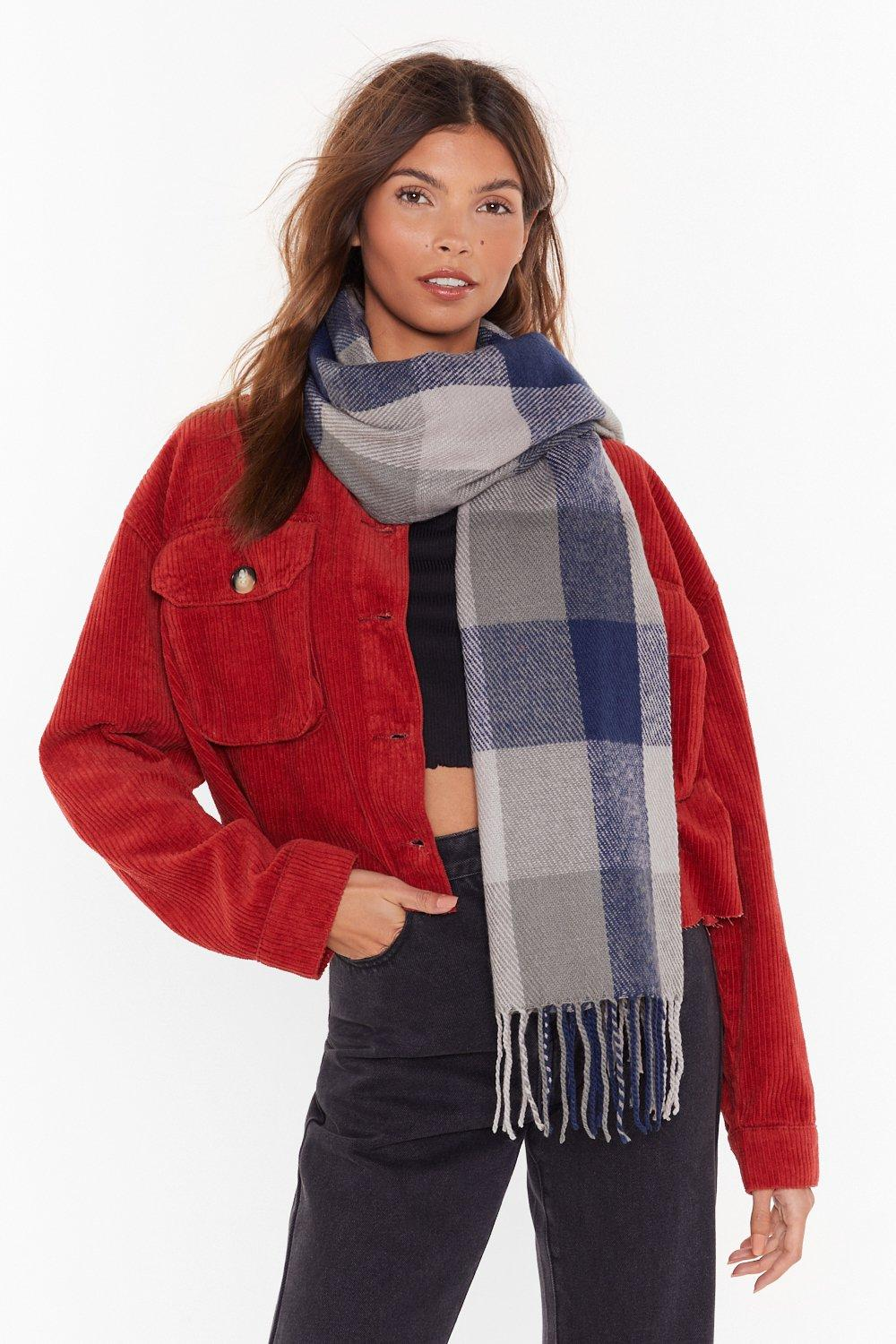 Blue Check Scarf by Nasty Gal