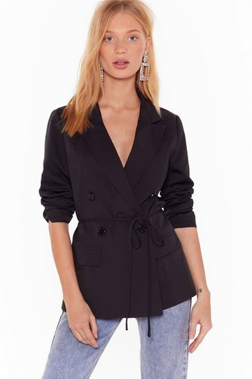 Womens Black Something Good Can Work Tailored Belted Blazer