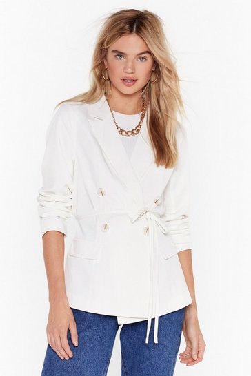 White Something Good Can Work Tailored Belted Blazer