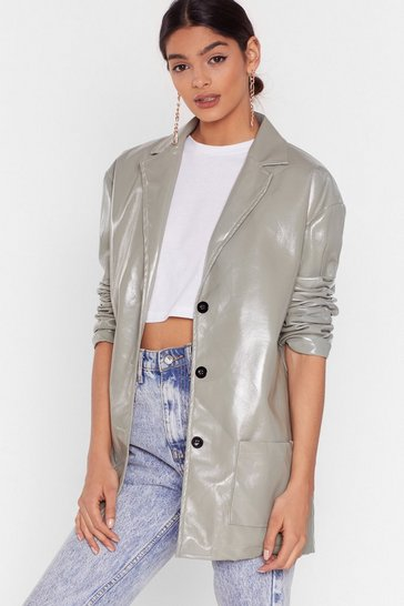 Sage Vinyl Without You Oversized Jacket