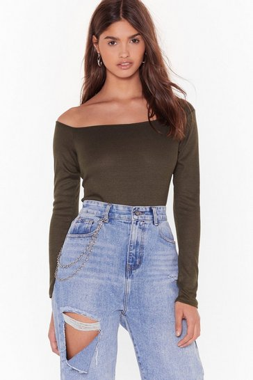 Womens Khaki What's Your Best Off-the-Shoulder Bodysuit