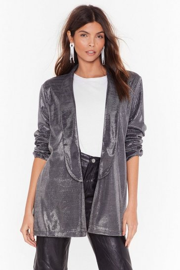 Silver Hit the Lights Metallic Longline Blazer