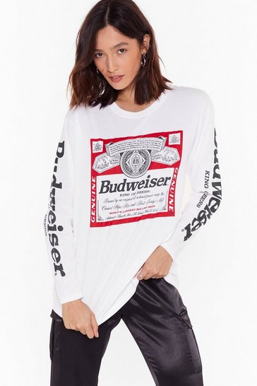 Womens White Fancy a Bud Graphic Tee