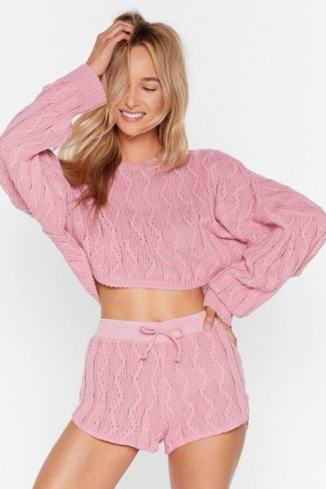 Pink Got Cable Knit Sweater and Shorts Lounge Set
