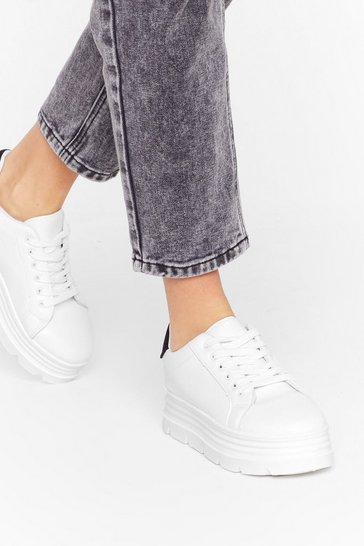 Womens White Running Start Faux Leather Platform Sneakers