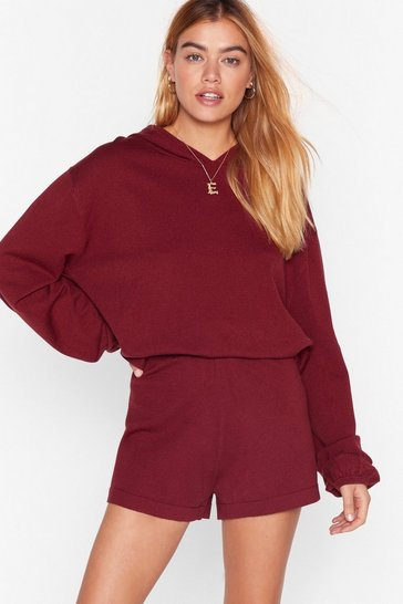 Burgundy Knit Ain't Gonna Happen Shorts Lounge Set