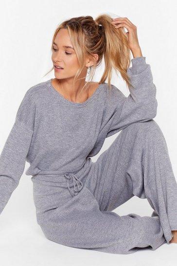 Grey Take No Knit Sweater and Wide-Leg Lounge Set