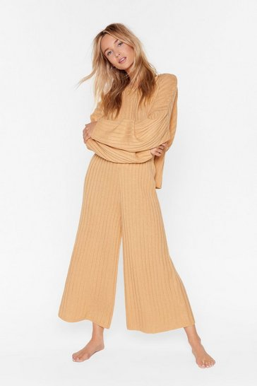 Biscuit Knit Back and Relax Wide Leg Pajama Set