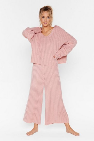 Womens Rose Chunky hooded rib knitted top & trouser set