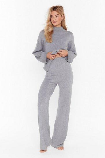 Grey Take a Break Knit Wide-Leg Pants Lounge Set