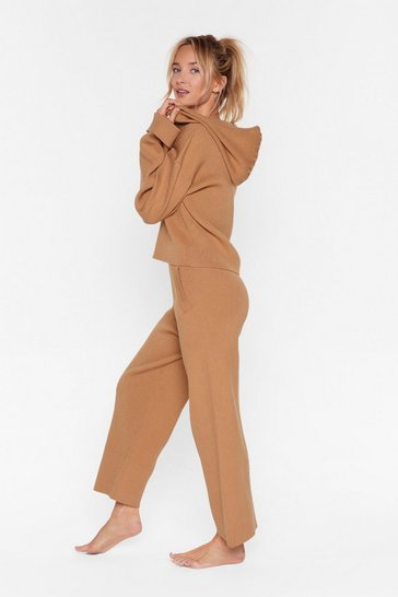 Womens Biscuit Rest Up Ribbed Hoodie and Wide-Leg Lounge Set