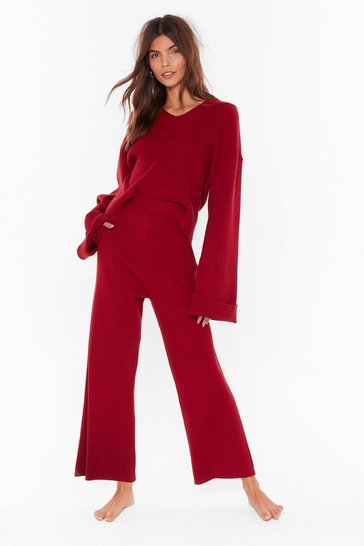 Red Rest Up Ribbed Hoodie and Wide-Leg Lounge Set