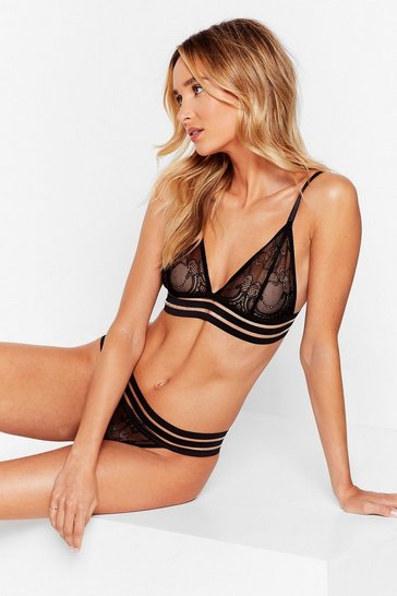 Black Strappy Bralette And Knickers Set with Lace