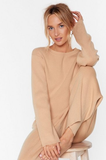Oatmeal Plan Cancelled Knitted Sweater and Wide-Leg Pants