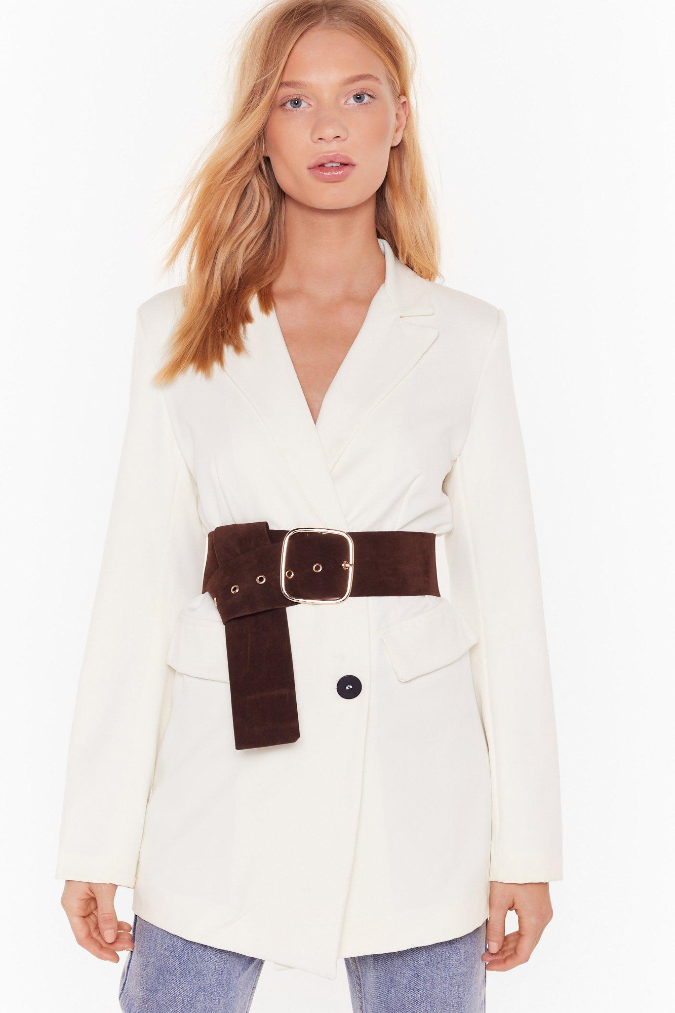 Immi Suede Large Buckle Long Belt by Nasty Gal