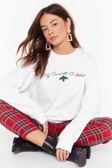 Womens White My Favorite C Word Graphic Holiday Jumper