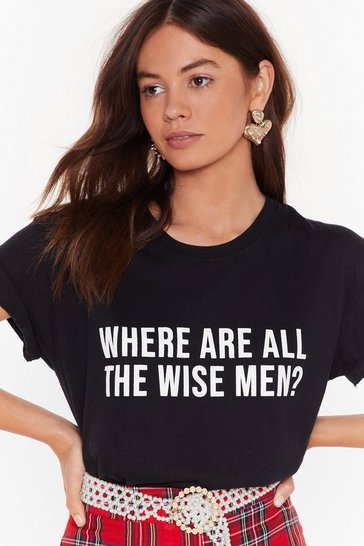 Womens Black Where Are All the Wise Men Graphic Tee