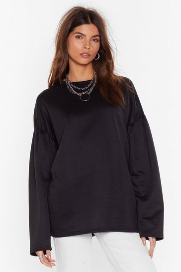 Womens Black Make 'Em Sweat Oversized Puff Sleeve Sweatshirt