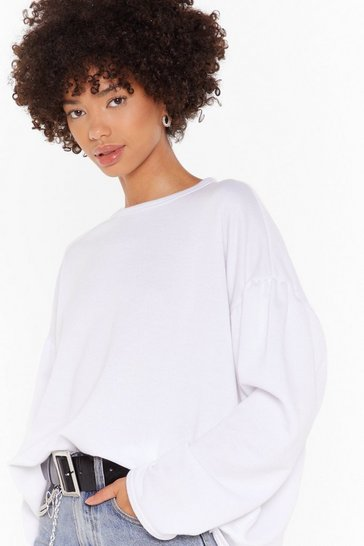 White Make 'Em Sweat Oversized Puff Sleeve Sweatshirt