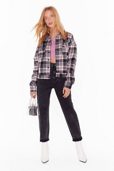 Womens Pink All Plaid Out Well Trucker Jacket