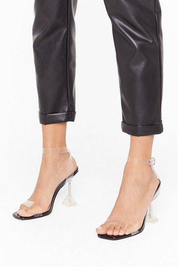 Womens Black Faux Leather Louis Perspex Lets Be Clear