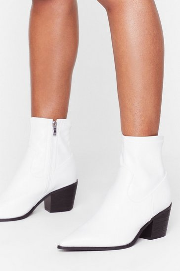 White A Little Lower Wide Fit Sock Boot