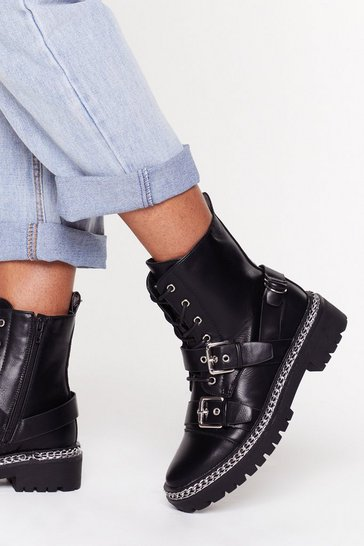 Black Boots Are Made for Walking Chain Faux Leather Boots