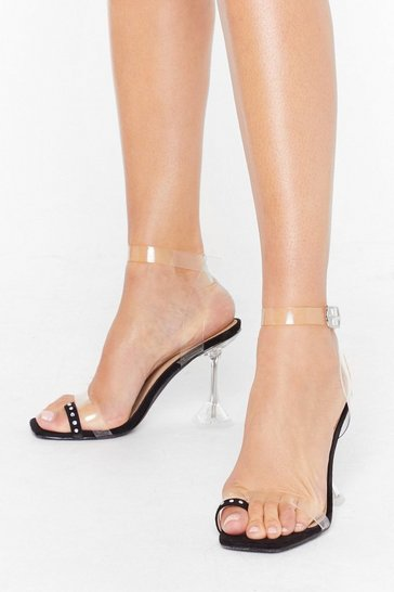 Black Bling Your Outfit Toe-gether Clear Heels