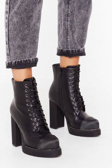 Womens Black Rise to the Challenge Faux Leather Platform Boots