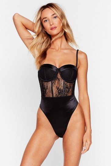 Black Should of Seam It Coming Satin Lace Bodysuit