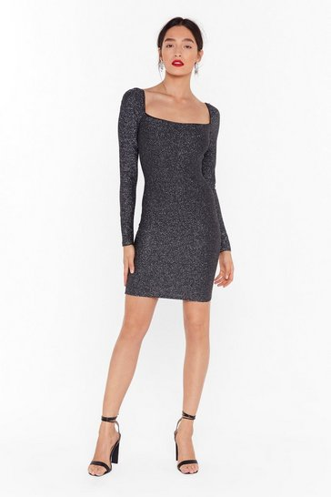 Womens Black Onto a Shimmer Glitter Mini Dress