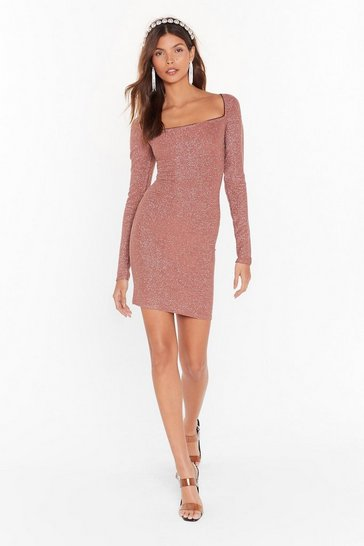 Womens Cinnamon Onto a Shimmer Glitter Mini Dress