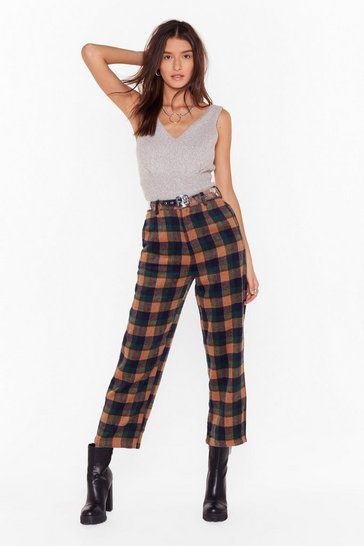 Green Checking in On You High-Waisted Tapered Pants