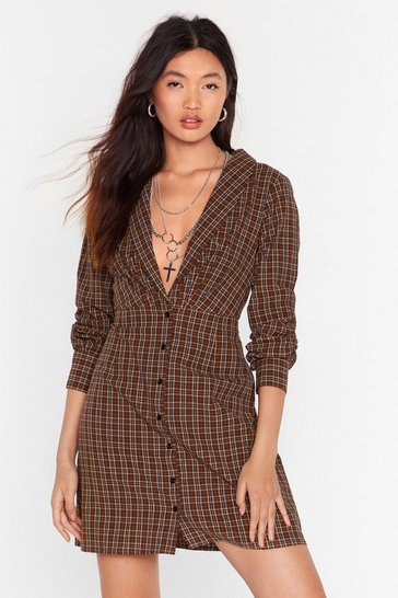 Womens Brown Button on Down Check Mini Dress