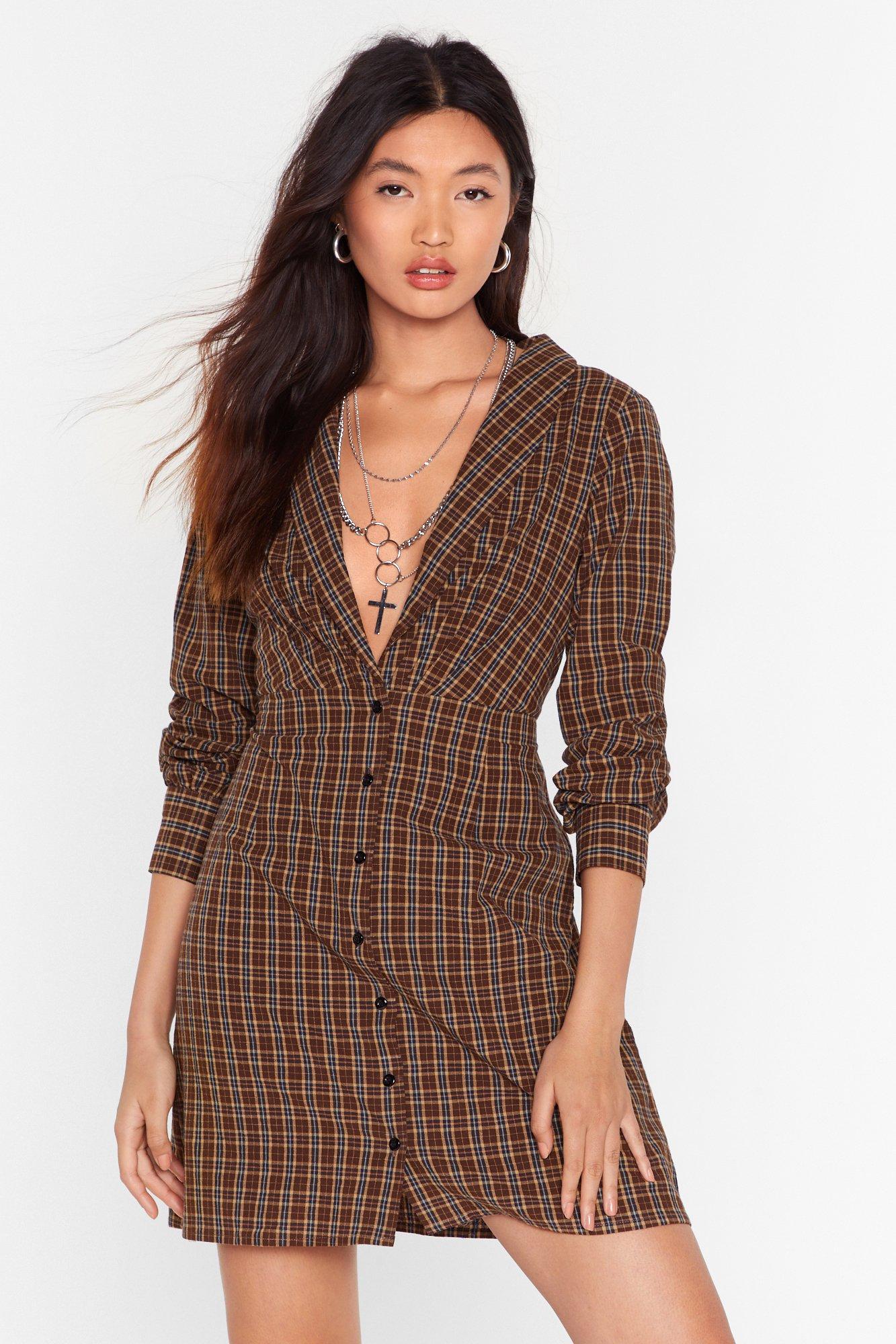 Button on Down Check Mini Dress