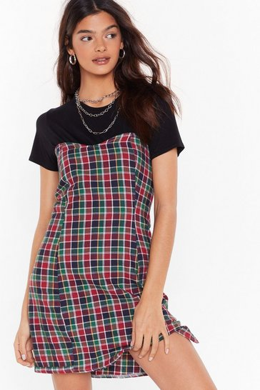 Green Nasty Gal Vintage Check the Record Mini Dress