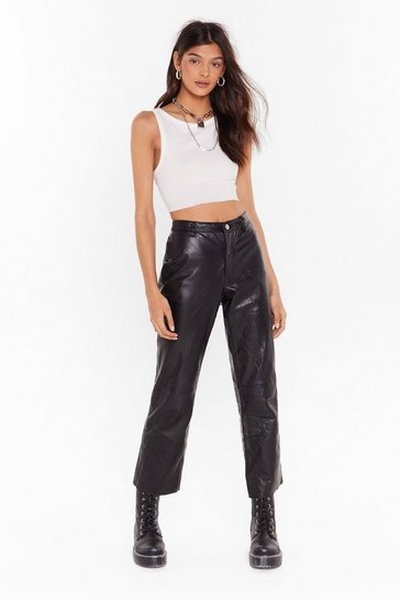 Black Nasty Gal Vintage A Little Leather Cropped Pants