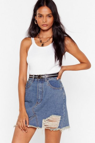 Vintage blue Rough and Ready Distressed Denim Skirt