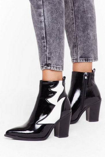 Womens Black Contrast panel heeled ankle boots