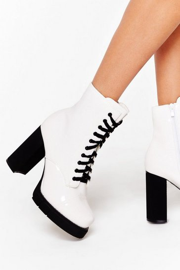 Womens White High Standards Faux Leather Platform Boots