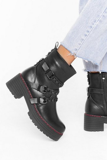 Black Really Stud Out Faux Leather Buckle Boots