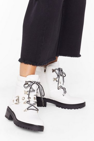 White Eyelet My Mind Wander Faux Leather Biker Boots