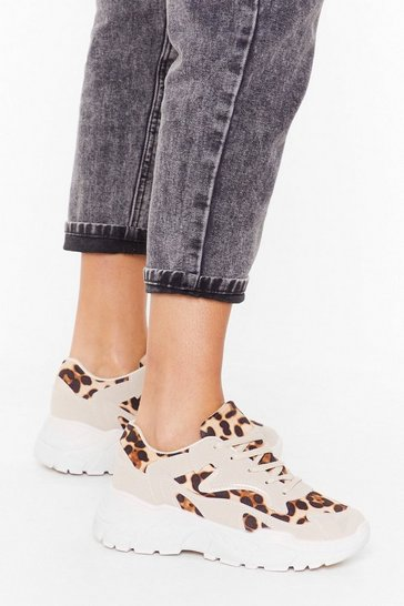 Womens Beige Leopard mixed fabric chunky sneaker