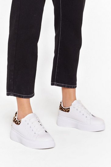 White She's Runnin' Wild Faux Leather Leopard Trainers