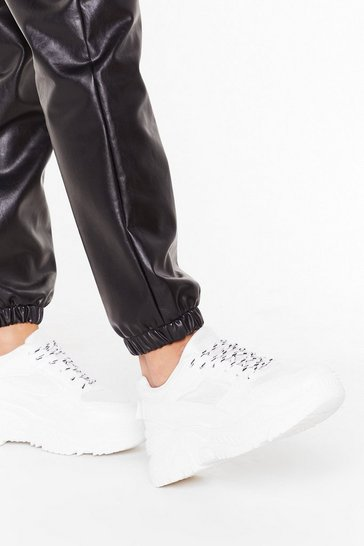 Womens White Runnin' From Our Responsibilities Chunky Sneakers